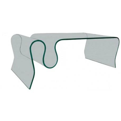 Table basse avec porte revues en verre securite