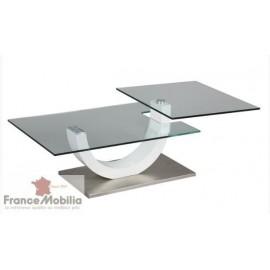Table basse 2 plateaux articulés en verre