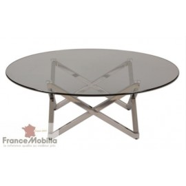 Table basse diam 105 pied inox triangulaire