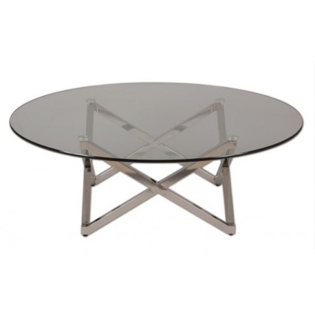 Table ronde de salon diam 105 pied inox triangulaire