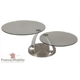 Table de salon a 2 plateaux ronds en verre articulé