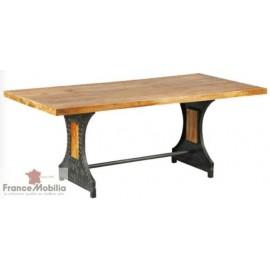 table bois et métal - plateau bois massif