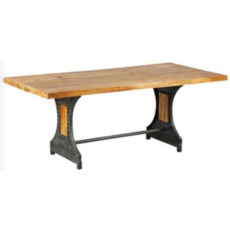 Table monastère en acier et bois