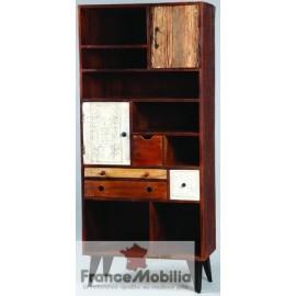 Meuble bibliothèque à casiers, tiroirs, et portes en bois et pieds métal