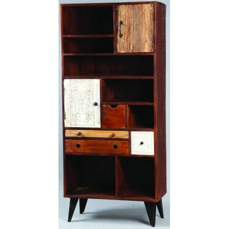 Meuble bibliothèque a casiers, tiroirs, et portes en bois et pieds métal