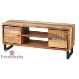 Meuble pour télé avec rangement en bois brut teinté
