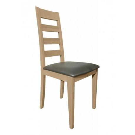 Chaise salle a manger chêne clair assise PVC gris