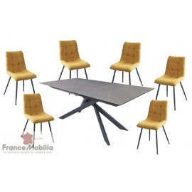 Table et chaises pour 6 personnes en céramique assise tissu