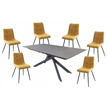 Table céramique 6 personnes 6 chaises