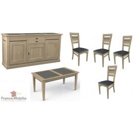 Salle a manger complète portes coulissantes, table,rallonges,chaises