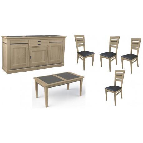 Salle a manger 6 pièces buffet, table,4 chaises chêne massif naturel