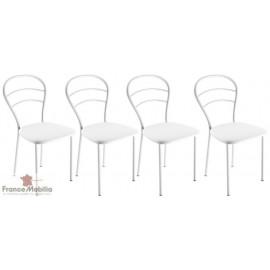4 Chaises pour cuisine assise skai blanc et dossier chromé
