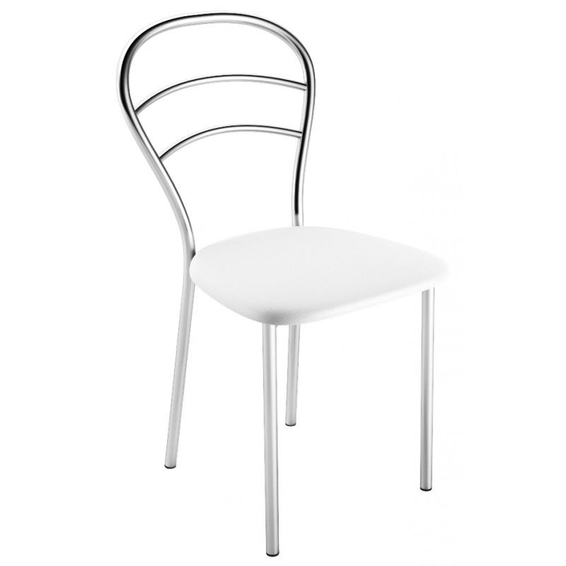 Chaise de cuisine en skai blanc et chrome