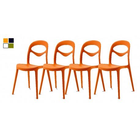 Chaise empilable de couleur orange