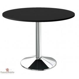 Table de cuisine noire et chrome de fabrication française