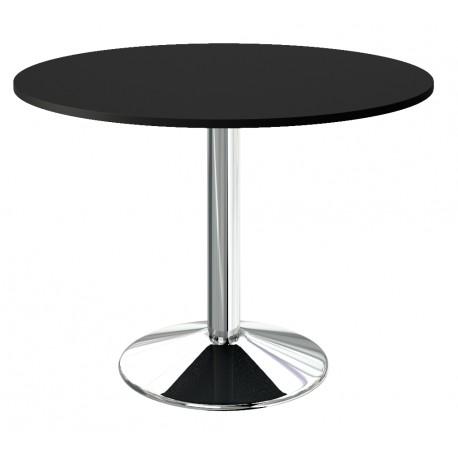 Table ronde de cuisine plateau noir pied central chromé