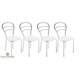 Chaise de cuisine en skaï blanc et chrome