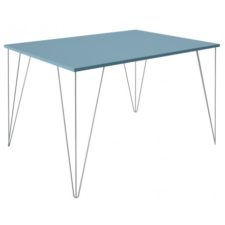 Table pour cuisine bleue sur mesure et pieds métallique a 3 branches