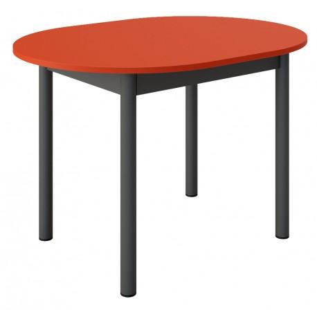 Table de cuisine ovale sur mesure  en rouge et noire