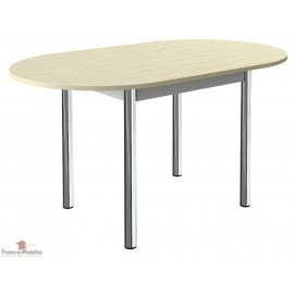 Table de cuisine ovale à rallonge centrale et pieds chrome