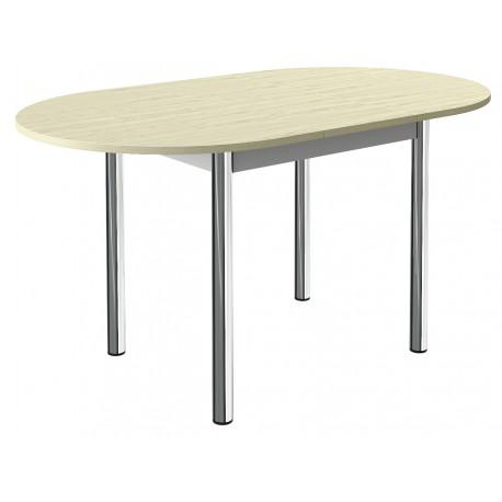 Table de cuisine ovale a rallonge centrale et pieds chrome