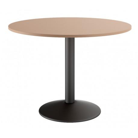 Table ronde  de cuisine de couleur sable et pied central noir mat