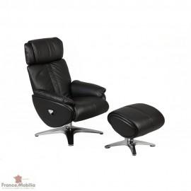 Relax manuel cuir noir et repose pieds noir et chrome
