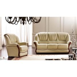 Salon cuir italien - 3 pièces canapé fauteuils
