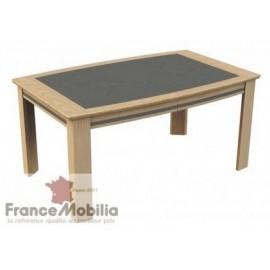 Table de salle a manger en chêne et véritable céramique grise