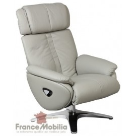 Fauteuil relax cuir gris taupe articulé