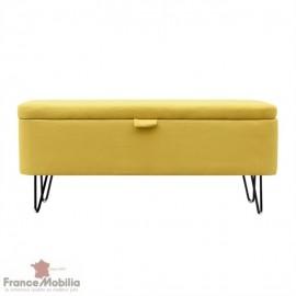 Bout de lit coffre tissu jaune