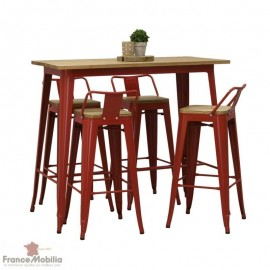 Tabourets haut rouge et table metal