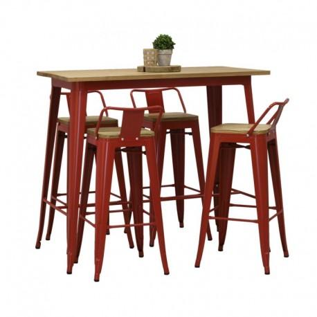 Tabourets haut rouge et table metal