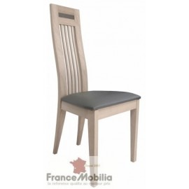 Chaise en chêne massif contemporaine assise PVC marron