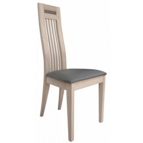 Chaise en chêne massif contemporaine assise PVC marron