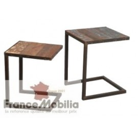 table basse gigogne métal palissandre