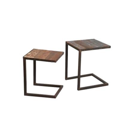 table basse de salon gigogne métal palissandre