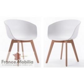 Lot de 2 chaises de cuisine en bois et PVC