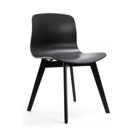 Chaises noires design - pieds bois