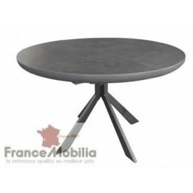 Table ronde ceramique - grise mouchetée