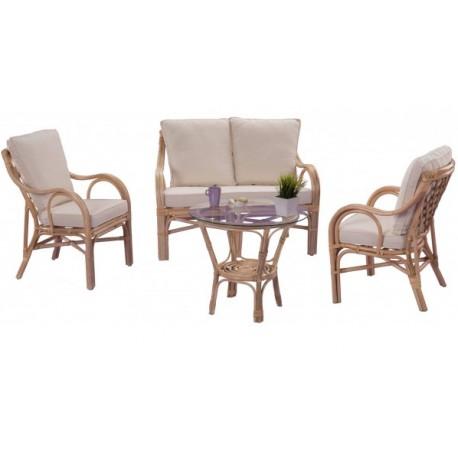 Meuble salon rotin - canapé fauteuils