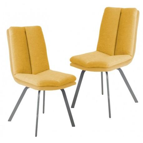 chaise jaune salle a manger x2