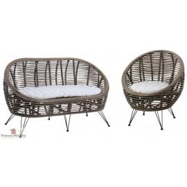 Canapé fauteuil rotin pieds metal