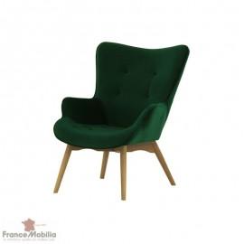 fauteuil velours vert foncé
