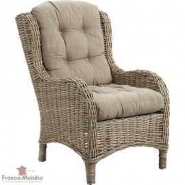 Fauteuil rotin gris assise droite