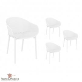 Chaises blanches interieur exterieur
