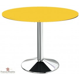 Table ronde pour cuisine jaune