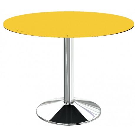 Table de cuisine ronde Jaune