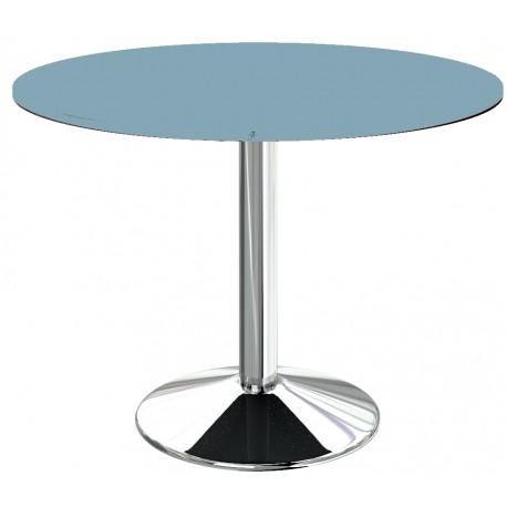 table ronde un pied central Bleu