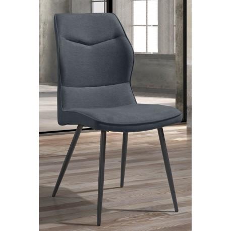 Chaise grise en tissu polyester et pieds métallique de couleur anthracite